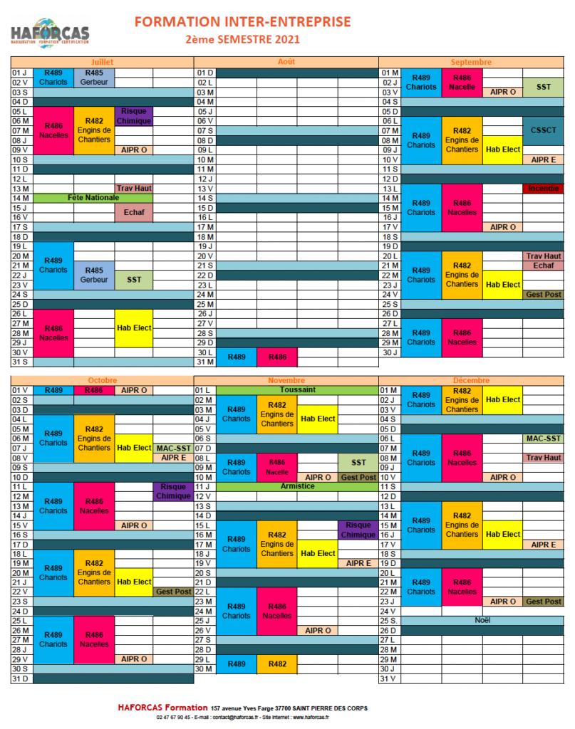 PLANNING FORMATION HAFORCAS INTER 2021 2 eme semestre